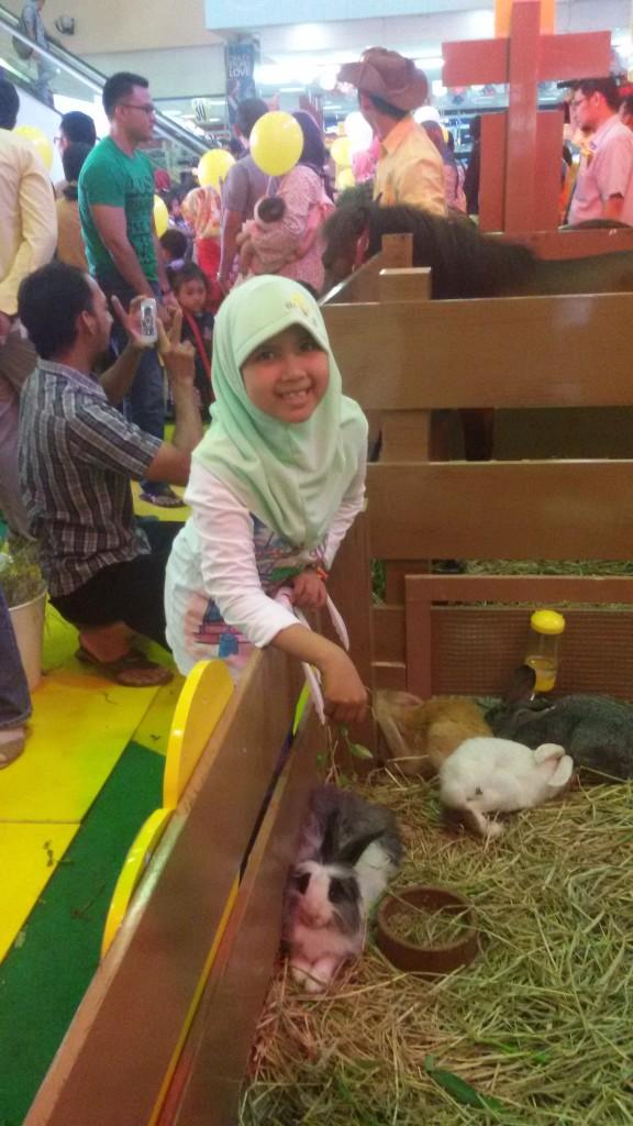 Nadia mau kasih makan kelinci lho :)