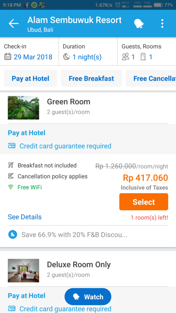 Pay at hotel traveloka